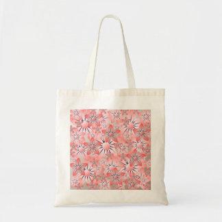 Pink Cream Purple Flowers Budget Tote Bag