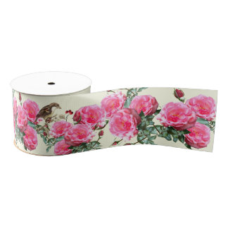 Pink Cream Roses Birds Wide Botanical Ribbon Grosgrain Ribbon