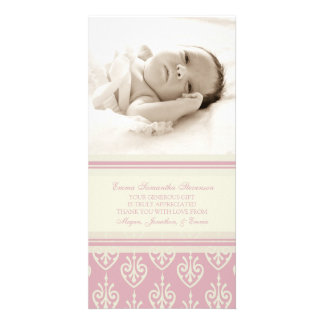 Pink Cream Thank You Baby Shower Photo Cards