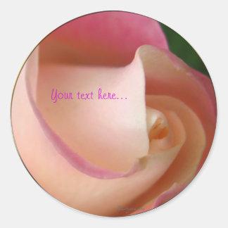 Pink Cream Wedding Rose Seal Round Sticker