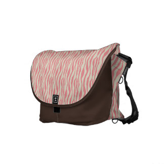 Pink cream zebra stripes Rickshaw messenger bag