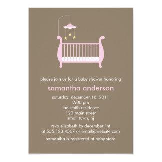 Pink Crib Girl Baby Shower Card