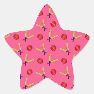 pink cricket pattern star sticker