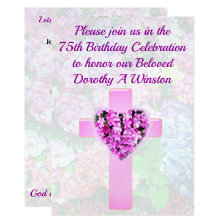 PINK CROSS AND FLORAL 75TH BIRTHDAY INVITATION