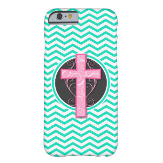 Pink Cross; Aqua Green Chevron Barely There iPhone 6 Case