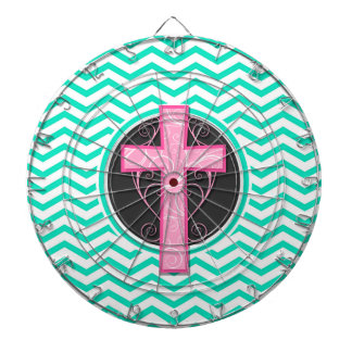 Pink Cross; Aqua Green Chevron Dartboard
