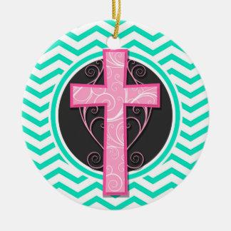 Pink Cross; Aqua Green Chevron Christmas Tree Ornaments