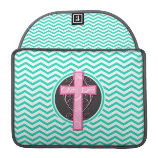 Pink Cross Aqua Green Chevron Sleeves For MacBook Pro