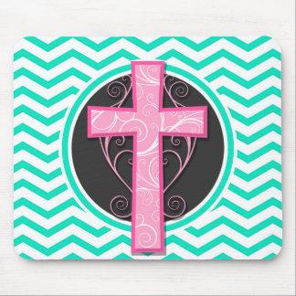 Pink Cross; Aqua Green Chevron Mouse Pad