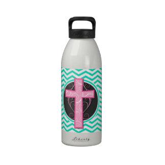 Pink Cross Aqua Green Chevron Water Bottle