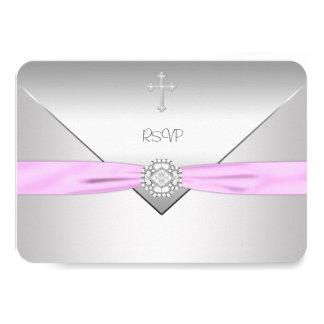 Pink Cross Baby Girl Christening RSVP 9 Cm X 13 Cm Invitation Card