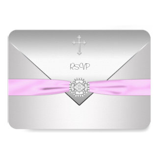 Pink Cross Baby Girl Christening RSVP Card