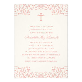 Pink Cross Baptism/Christening Invitation