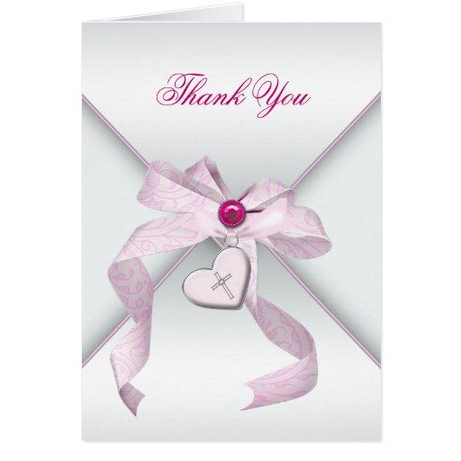 Pink Cross Baptism Christening Thank You Card