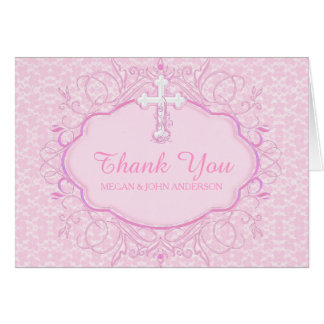 Pink Cross Baptism Christening Thank You Card