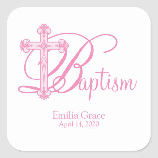 pink cross BAPTISM custom party favor label Square Sticker