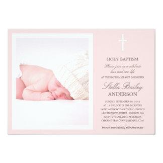 PINK CROSS   BAPTISM INVITATIONS