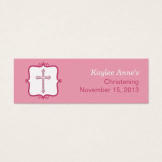 Pink Cross Baptism Small Tag