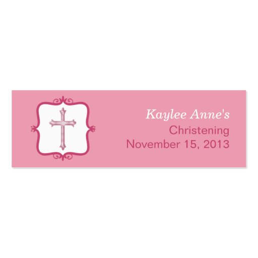 Pink Cross Baptism Small Tag Business Card Templates