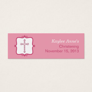 Pink Cross Baptism Small Tag Mini Business Card