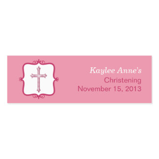 Pink Cross Baptism Small Tag Pack Of Skinny Business Cards