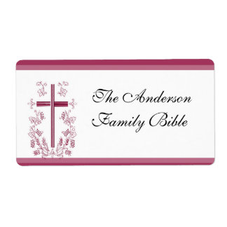 Pink Cross Bible Label