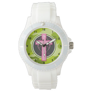 Pink Cross; bright green camo, camouflage Watches