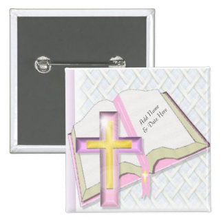 Pink Cross Christian Religious Backpack or Hat Pin