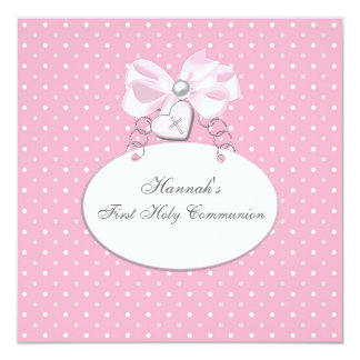 Pink Cross Girls First Communion Custom Invitations
