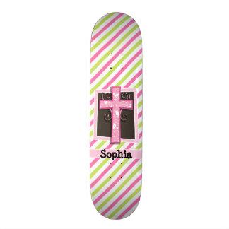 Pink Cross on Pink & Lime Green Stripes 21.6 Cm Skateboard Deck