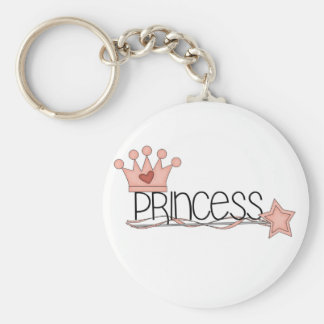 Pink Crown and Wand Princess Basic Round Button Key Ring