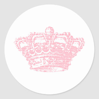 Pink Crown Classic Round Sticker