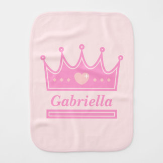 Pink Crown for the Royal Princess, Baby Girls Burp Cloth