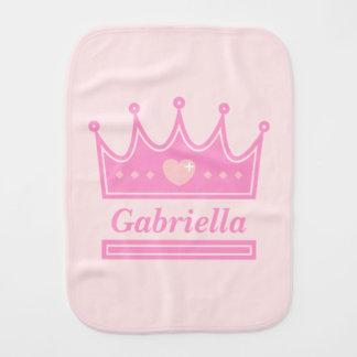 Pink Crown for the Royal Princess, Baby Girls Burp Cloth