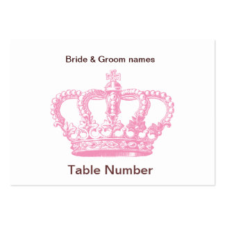 Pink Crown Reception Place cards Business Card