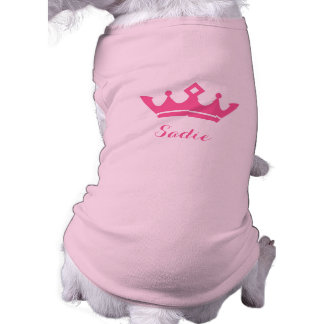 Pink Crown Silhouette With Dog's Name Shirt