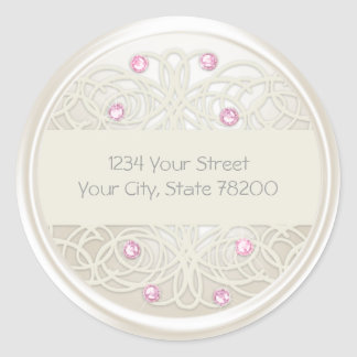 Pink Crystal and Pearl Damask Return Address Seal Round Sticker