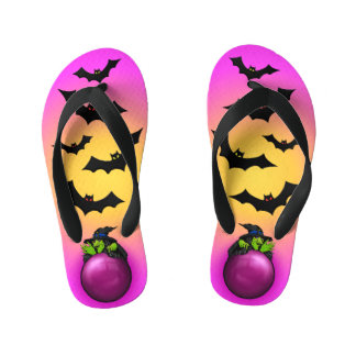 Pink Crystal Ball Witch and Bats Kid's Thongs