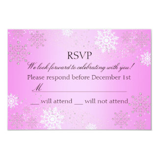 Pink Crystal Snowflake Winter Wonderland RSVP 9 Cm X 13 Cm Invitation Card