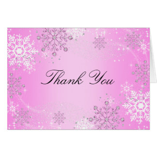 Pink Crystal Snowflake Winter Wonderland Thank You Note Card