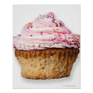 Pink cup cake, on white background, cut out poster