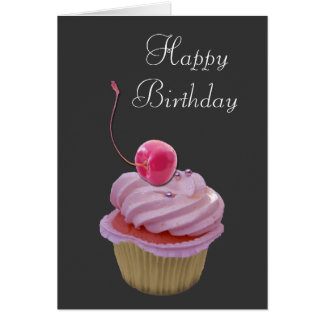 Pink Cupcake and Cherry Card