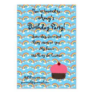 "Pink cupcake and rainbows invitations 3.5"" x 5"" invitation card"