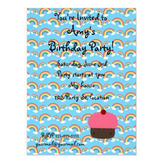"Pink cupcake and rainbows invitations 6.5"" x 8.75"" invitation card"