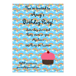 Pink cupcake and rainbows invitations
