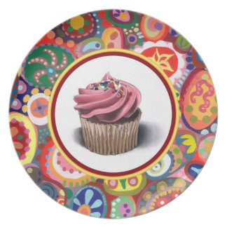 Pink Cupcake Art Plate - Colorful Abstract