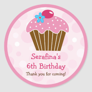 Pink Cupcake Birthday Gift Sticker
