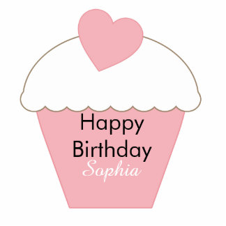 Pink Cupcake Cake Topper Standing Photo Sculpture