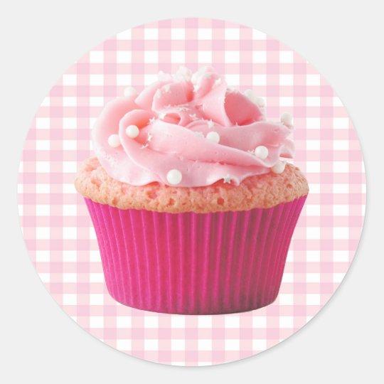 Pink Cupcake Classic Round Sticker