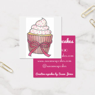 Pink Cupcake Cupcakes Baked By Pastry Chef Bakery Square Business Card